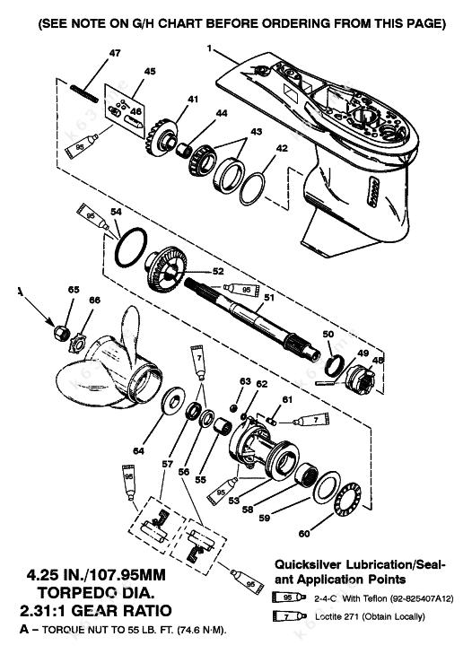 Mercury  Mariner 75 3 Cyl   Gear Housing Prop Shaft 6 Jaw Reverse Clutch